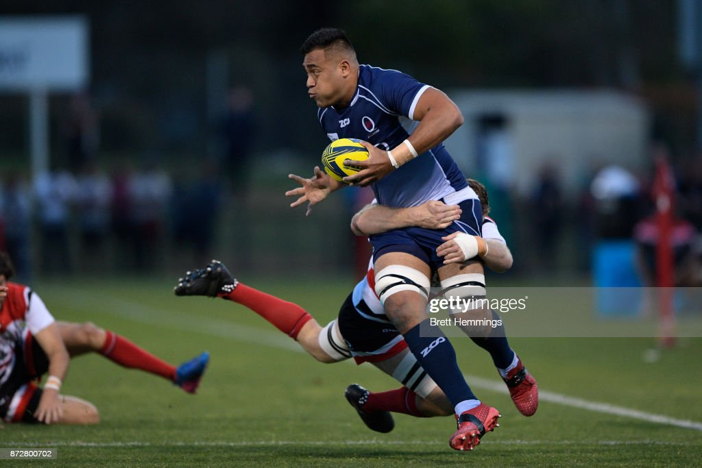 Caleb Timu of Queensland is tackled during the NRC Grand Final match between Canberra and Queensland Country at Viking Park on November 11, 2017 in Canberra, Australia.