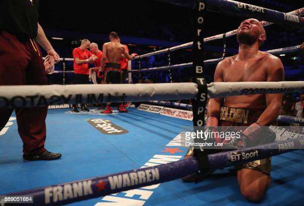 Caleb Truax celebrates beating James De Gale in the IBF World SuperMiddleweight Championship fight at Copper Box Arena on December 9 2017 in London...