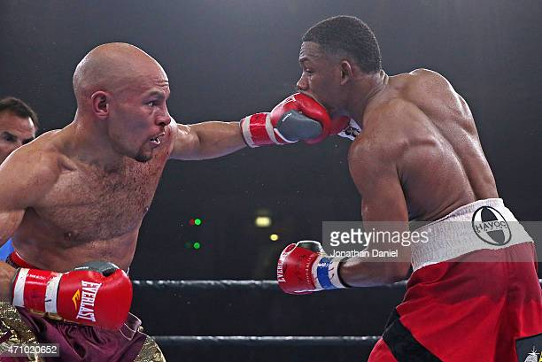 Caleb Trux connects with Daniel Jacobs during a middleweight fight at the UIC Pavilion on April 24 2015 in Chicago Illinois
