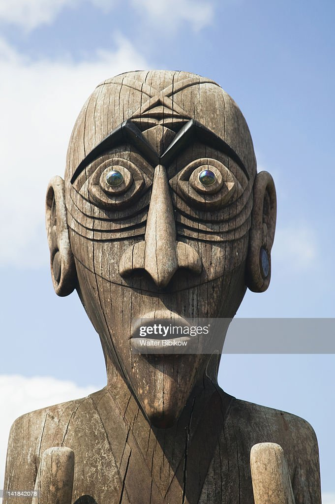 NEW CALEDONIA-Central Grande Terre Island-LA FOA- Totem pole display at the sculpture garden