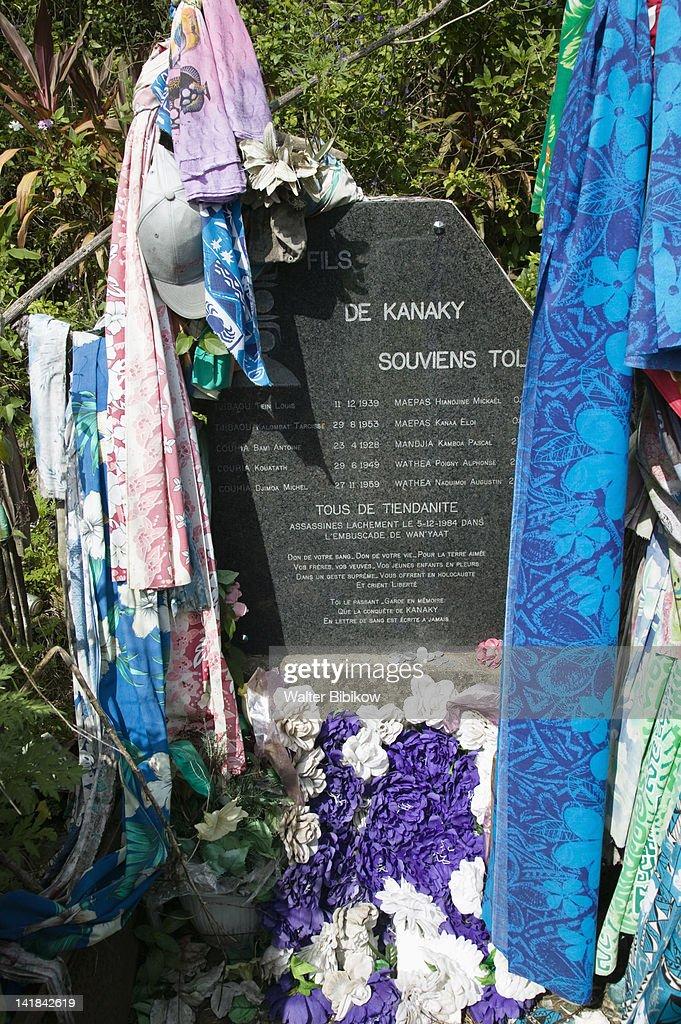 NEW CALEDONIA-Northern Grande Terre Island-HIENGHENE-Site of the Hienghene massacre of 10 Kanak tribal leaders in 1984 : Stock Photo