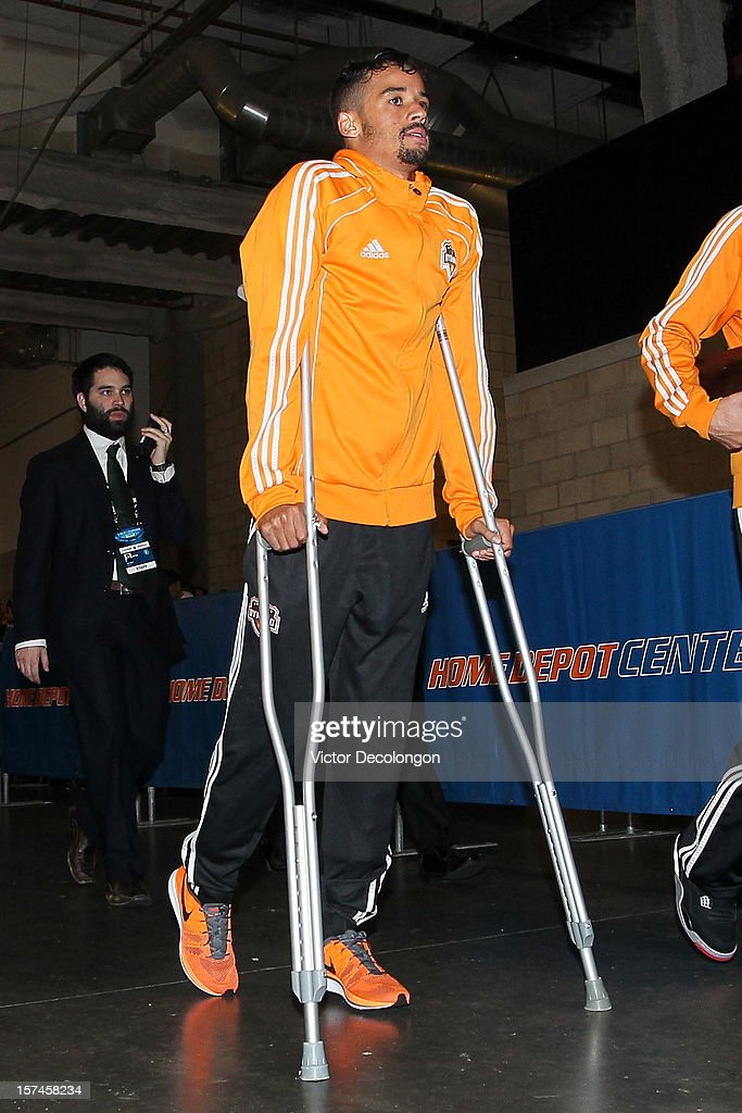 Calen Carr of Houston Dynamo leaves The Home Depot Center on crutches after the Dynamo lose to the Los Angeles Galaxy 31 in the 2012 MLS Cup on...