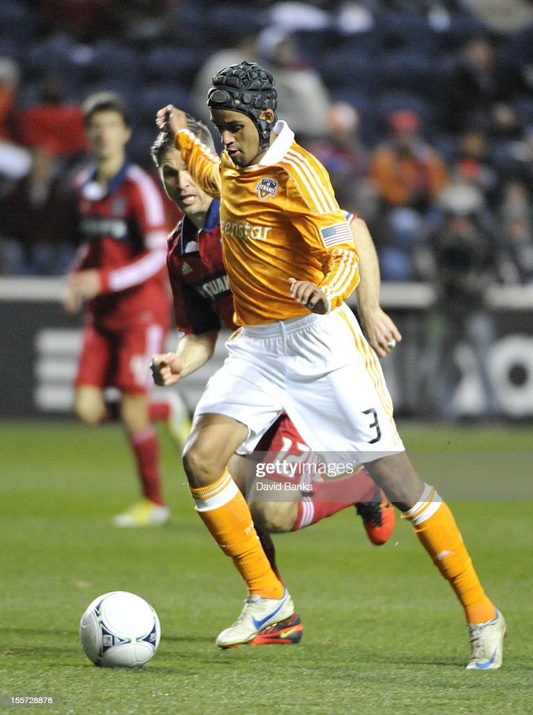 Calen Carr of Houston Dynamo moves the ball forward against the Chicago Fire in an MLS match on October 31 2012 at Toyota Park in Bridgeview Illinois