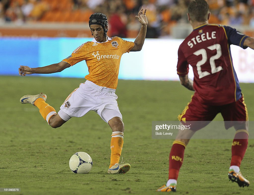 Calen Carr of Houston Dynamo prepares to put as shot on goal against the Real Salt Lake at BBVA Compass Stadium in the second half on September 6...