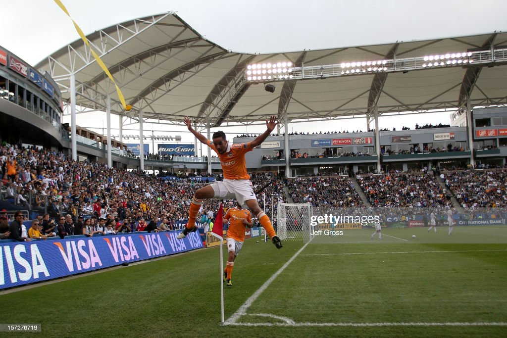 Calen Carr of Houston Dynamo reacts after scoring a goal in the first half while taking on the Los Angeles Galaxy in the 2012 MLS Cup at The Home...