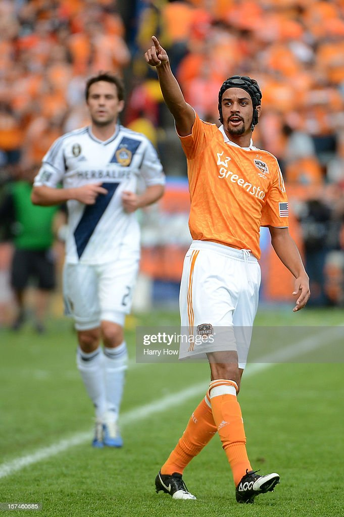 Calen Carr of Houston Dynamo reacts while taking on the Los Angeles Galaxy in the 2012 MLS Cup at The Home Depot Center on December 1 2012 in Carson...