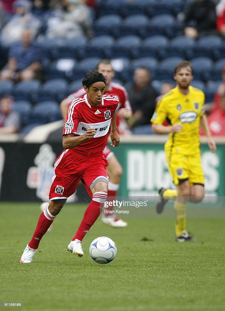 Calen Carr of the Chicago Fire goes for the ball during the second half against the Columbus Crew at Toyota Park on September 20 2009 in Bridgeview...