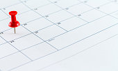 Calendar Date Planner Calendar Date Planner With Red Pin Point marker on Date