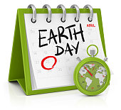 3d render. Calendar Earth Day and stopwatch with a map of the world isolated on white background.