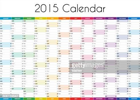 2015 Calendar - ENGLISH VERSION : Stock Photo