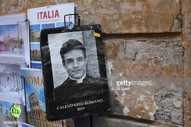 A calendar featuring images of clergy is displayed for sale on February 25 2013 in Rome Italy The Pontiff will hold his last weekly public audience...