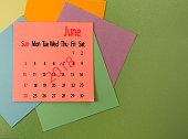 calendar for June 2018 closeup