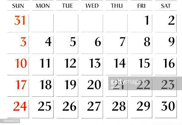 Calendrier mois