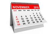 2018 year calendar. November calendar on a white background. 3d rendering