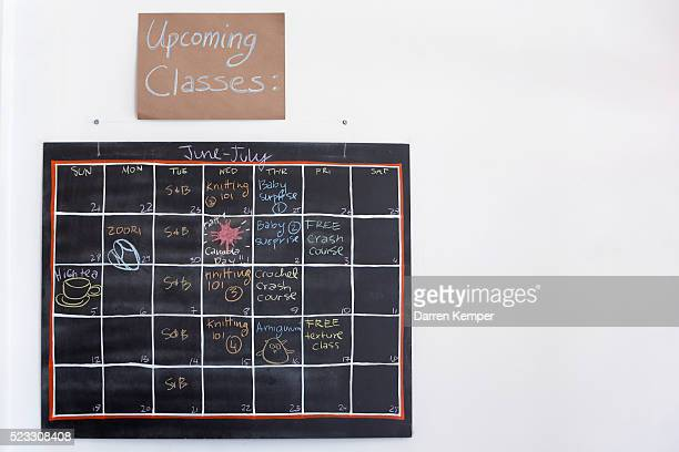 Calendar of crafting classes in yarn shop