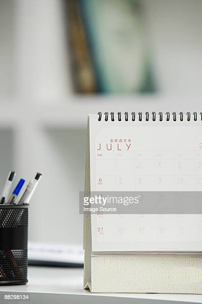 Calendario sulla scrivania