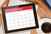 Calendar on digital tablet display