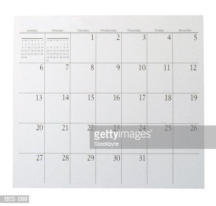 Calendar page : Stock Photo
