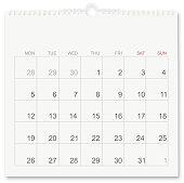 Calendar isolated on white