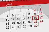 Calendar planner for month, deadline day of the week, saturday, 2018 june 16