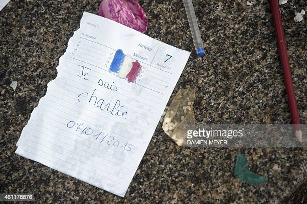 A calendar sheet at the date of January 7 2015 and reading in French 'I am Charlie' is placed in the city center of Rennes western France on January...