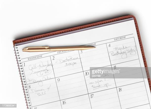 Calendar with gold pen