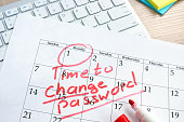 Calendar with words Time to change password. Password management.