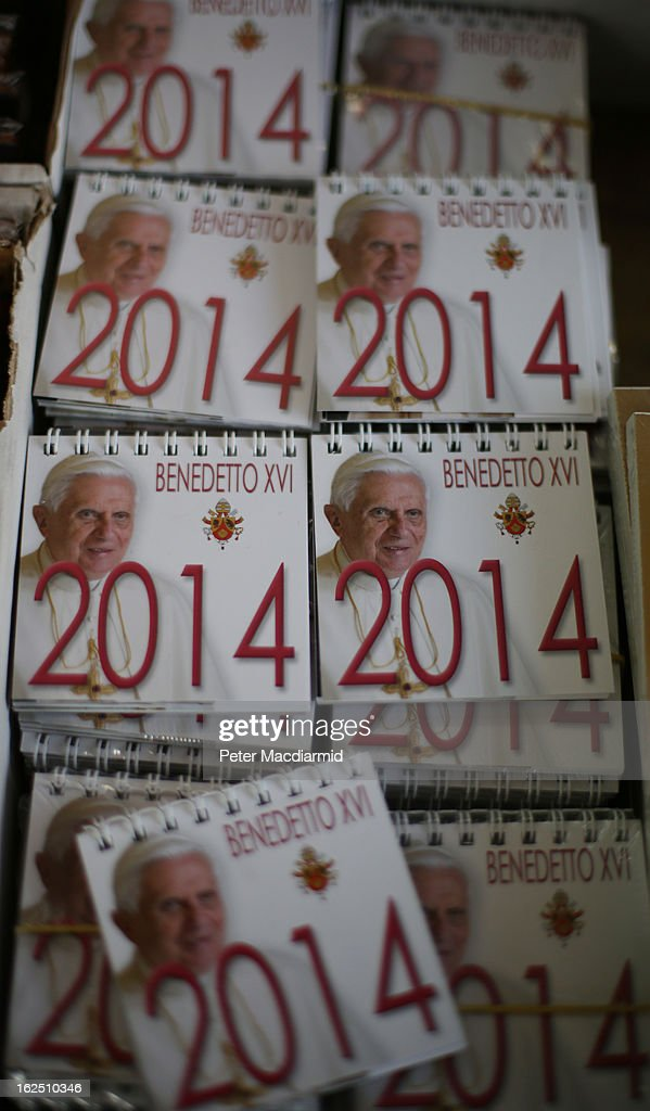 Calendars featuring Pope Benedict XVI are sold on February 24, 2013 in Vatican City, Vatican. The Pontiff will hold his last weekly public audience on February 27, 2013 before he retires the following day. Pope Benedict XVI has been the leader of the Catholic Church for eight years and is the first Pope to retire since 1415. He cites ailing health as his reason for retirement and will spend the rest of his life in solitude away from public engagements.