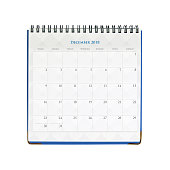 Calendar December 2018 isolated on white background with clipping mask.