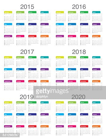 Calendario 2015 2016 2017 2018 2019 2020 : Foto de stock