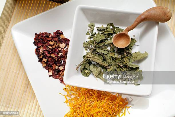 Calendula, nettle and fruit tea, type of teas