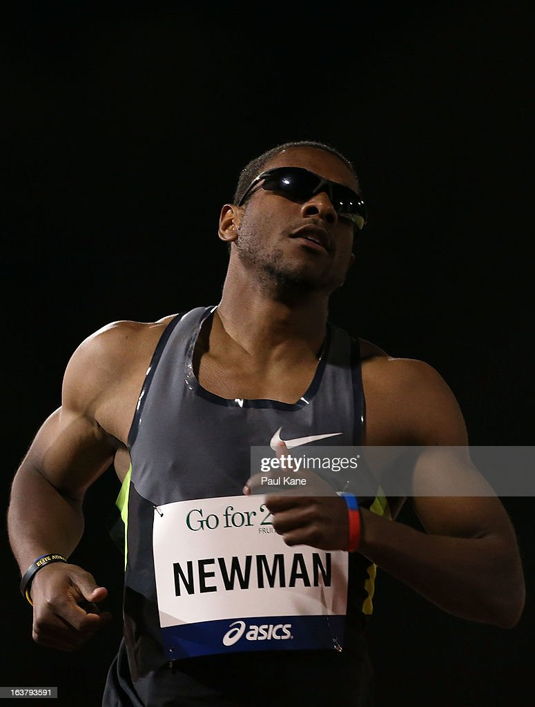 Calesio Newman of the USA competes in the mens open 200 metre race during the Perth Track Classic at the WA Athletics Stadium on March 16, 2013 in Perth, Australia.