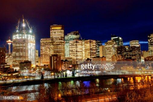 Calgary Canada Cityscape at night