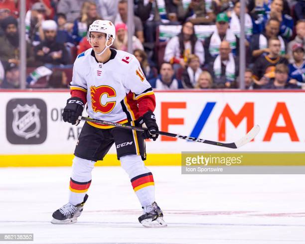Calgary Flames Center Mikael Backlund skates up ice during their NHL game against the Vancouver Canucks at Rogers Arena on October 14 2017 in...