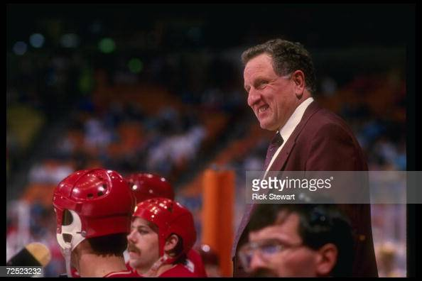 Calgary Flames coach Bob Johnson during a Flames game versus the Los Angeles Kings at the Forum in Inglewood California Mandatory Credit Rick...