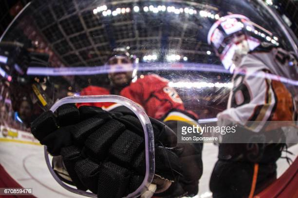 Calgary Flames Defenceman Deryk Engelland gives an unintentional fist bump during game 4 of the first round of the Stanley Cup Playoffs between the...