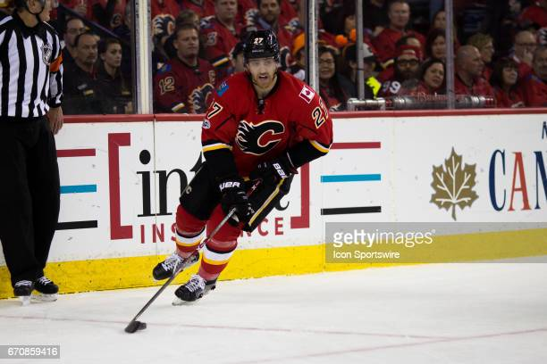 Calgary Flames Defenceman Dougie Hamilton circles out of his defensive zone during third period play during game 4 of the first round of the Stanley...