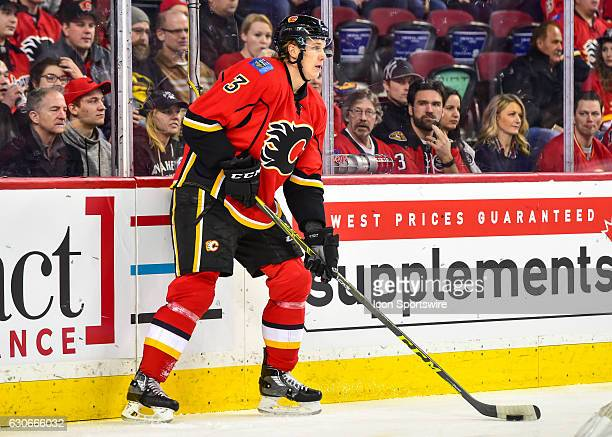 Calgary Flames Defenceman Jyrki Jokipakka prepares for breakout during a game between the Calgary Flames and the Anaheim Ducks on December 29 at the...