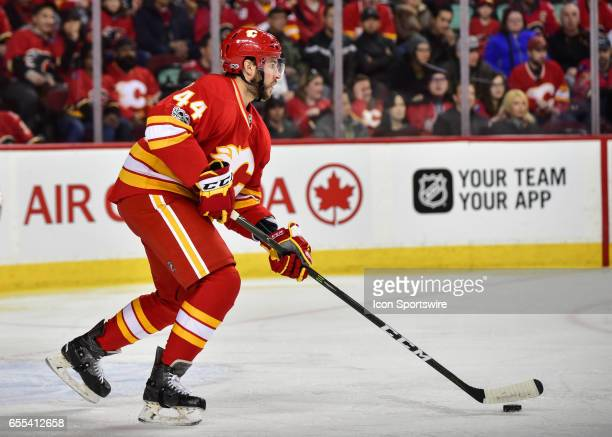 Calgary Flames Defenceman Matt Bartkowski skates with the puck during a game between the Calgary Flames and the Los Angeles Kings on March 19 at the...