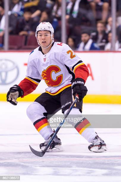 Calgary Flames Defenceman Michael Stone skates up ice during their NHL game against the Vancouver Canucks at Rogers Arena on October 14 2017 in...