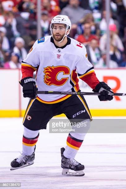 Calgary Flames Defenceman TJ Brodie skates up ice during their NHL game against the Vancouver Canucks at Rogers Arena on October 14 2017 in Vancouver...