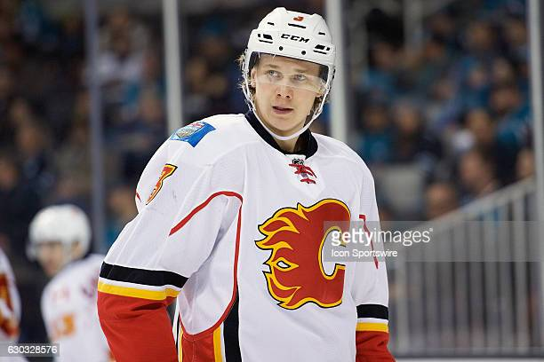 Calgary Flames defenseman Jyrki Jokipakka catches his breath during the NHL game between the San Jose Sharks and the Calgary Flames on December 20 at...