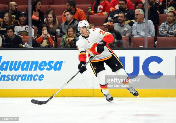 Calgary Flames Defenseman Travis Hamonic during an NHL game between the Calgary Flames and the Anaheim Ducks on October 09 2017 at Honda Center in...