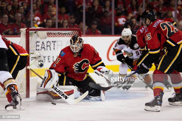 Calgary Flames Goalie Chad Johnson makes a save during game 4 of the first round of the Stanley Cup Playoffs between the Anaheim Ducks and the...