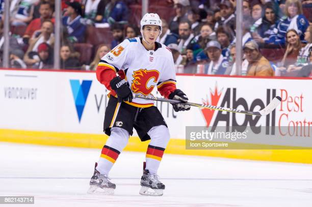 Calgary Flames Left Wing Johnny Gaudreau skates up ice during their NHL game against the Vancouver Canucks at Rogers Arena on October 14 2017 in...