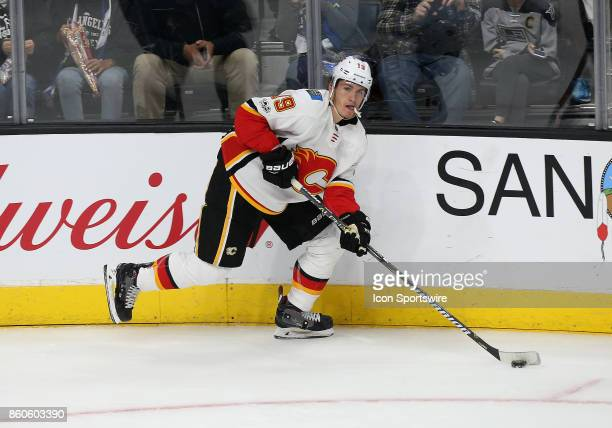 Calgary Flames left wing Matthew Tkachuk makes a pass during the game against the Los Angeles Kings on October 11 at the Staples Center in Los...