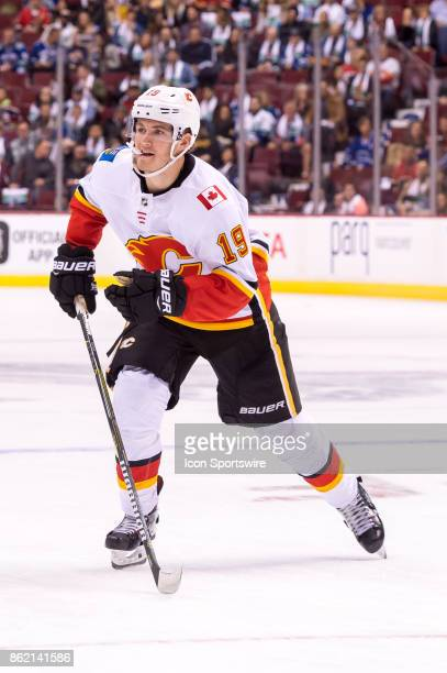 Calgary Flames Left Wing Matthew Tkachuk skates up ice during their NHL game against the Vancouver Canucks at Rogers Arena on October 14 2017 in...