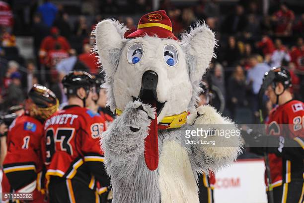 Calgary Flames mascot Harvey the Hound celebrates after the Flames defeated the Vancouver Canucks during an NHL game at Scotiabank Saddledome on...