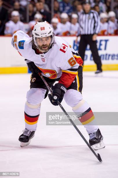 Calgary Flames Right Wing Jaromir Jagr waits for a faceoff during their NHL game against the Vancouver Canucks at Rogers Arena on October 14 2017 in...