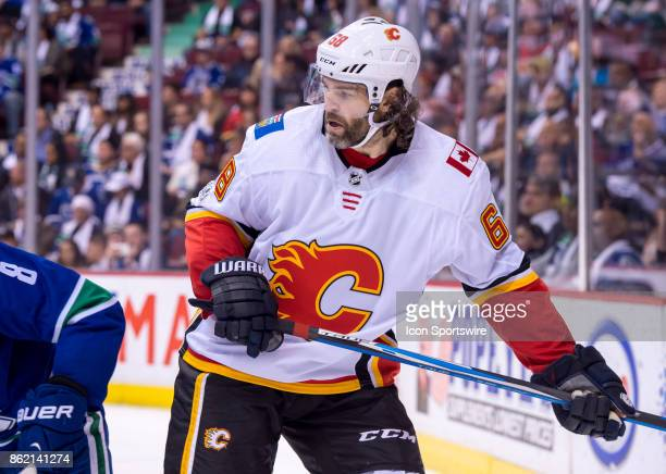 Calgary Flames Right Wing Jaromir Jagr watches the play during their NHL game against the Vancouver Canucks at Rogers Arena on October 14 2017 in...